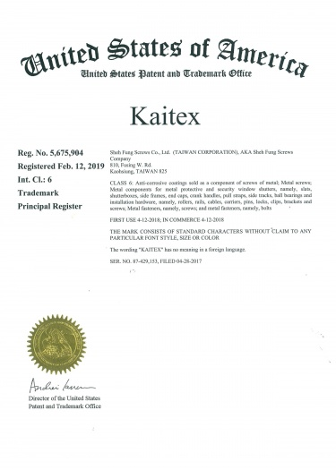 USPTO certificate of Kaitex
